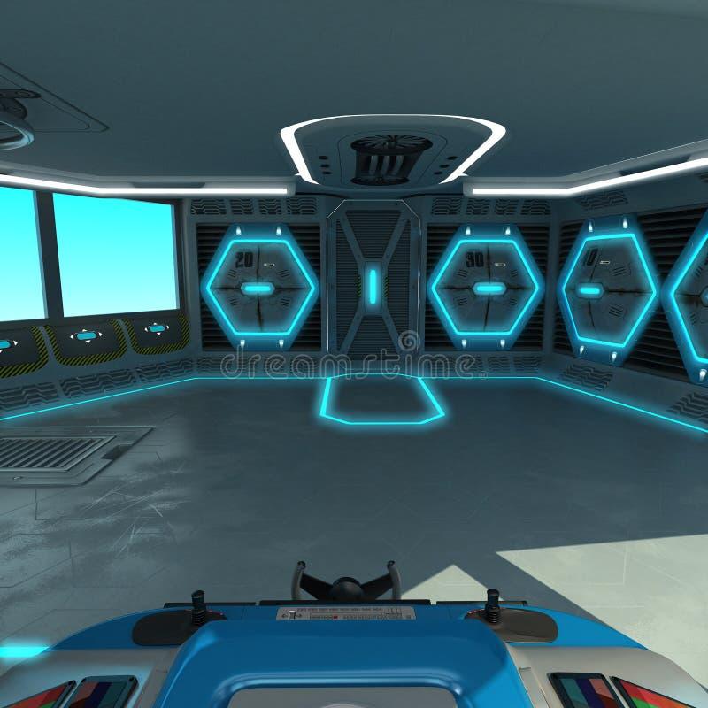 Um projeto futurista do navio-corte Ponte do comando de uma nave espacial Painel de controle e unidades de gestão da pálete imagem de stock