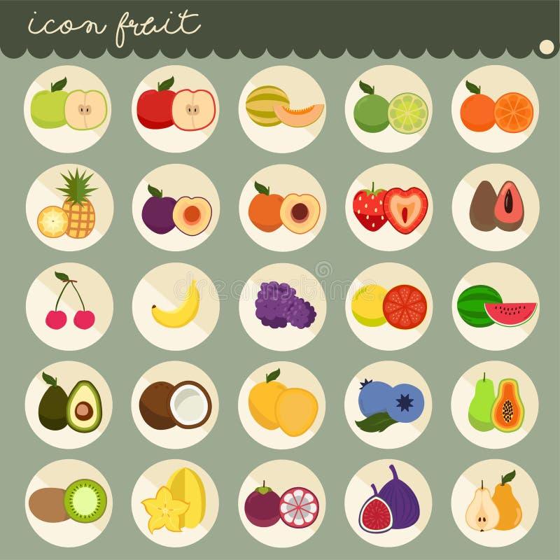 um projeto liso básico de 25 grupos, cores das coleções do vetor dos frutos, grupo de frutos é maçã, banana, laranja, uvas, cerej ilustração do vetor