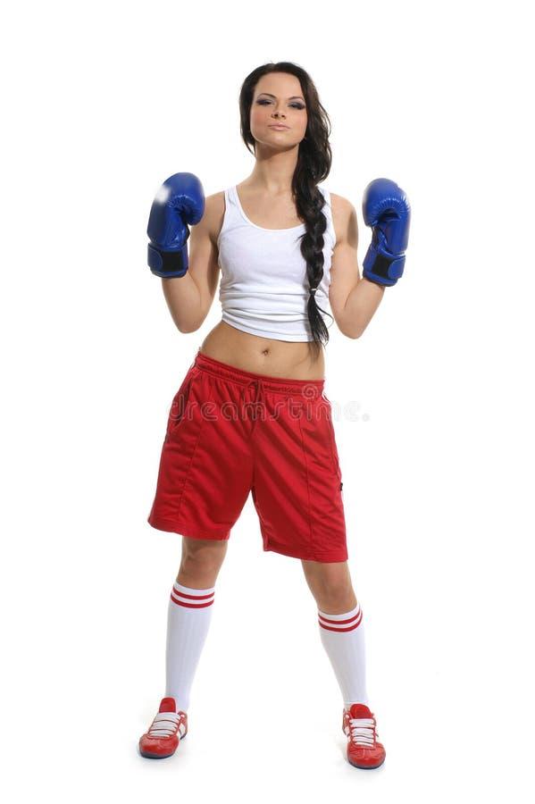 Um pugilista fêmea novo em shorts vermelhos e em luvas azuis foto de stock royalty free