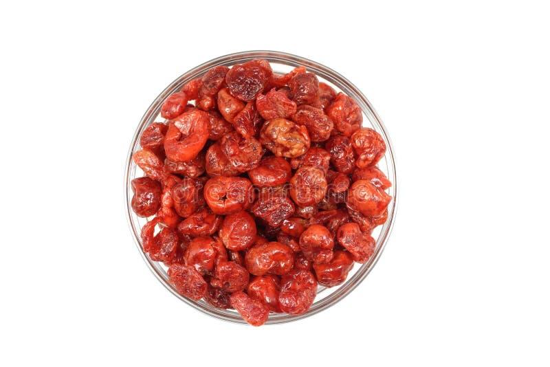 Um punhado de cerejas vermelhas secadas fotografia de stock royalty free