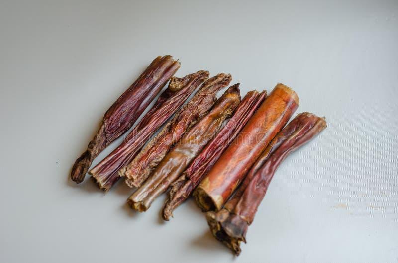 Um punhado pequeno de varas da intimidação em um fundo claro Deleites naturais para cães Mastigação secada ar Carne secada fotografia de stock royalty free