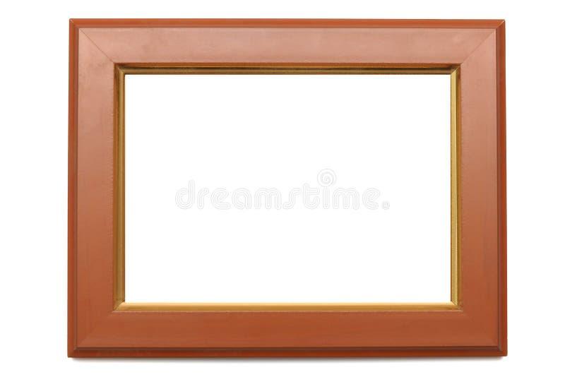Um quadro dado forma retangular da foto com bordas do feito da madeira imagens de stock