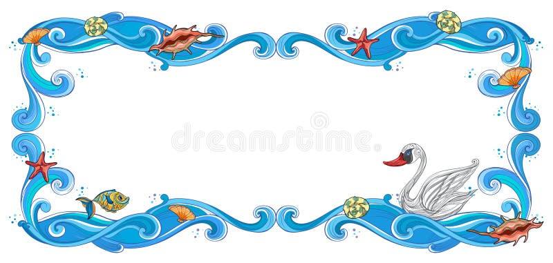 Um quadro de criaturas do mar ilustração do vetor