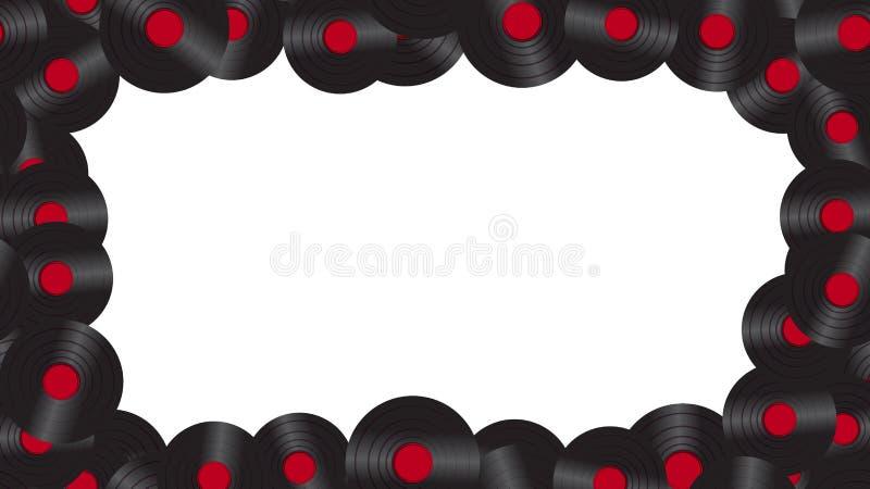 Um quadro do registro de vinil audio da música no fundo 60 do ` s, 70 ` s, 80 ` s, 90 ` s O fundo Ilustração do vetor ilustração do vetor