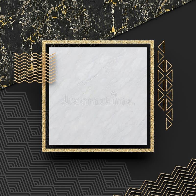 Um quadro quadrado da beira na pedra de mármore branca com um fundo escuro e uns elementos textured do ouro Copie o espaço Comp(s ilustração do vetor