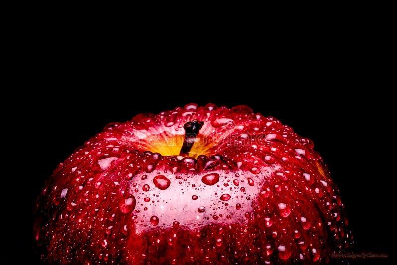 Um quadro que enche a imagem macro de uma maçã vermelha vibrante coberta nas gotas da água que perlam na casca Caracterizando 1/3 foto de stock royalty free