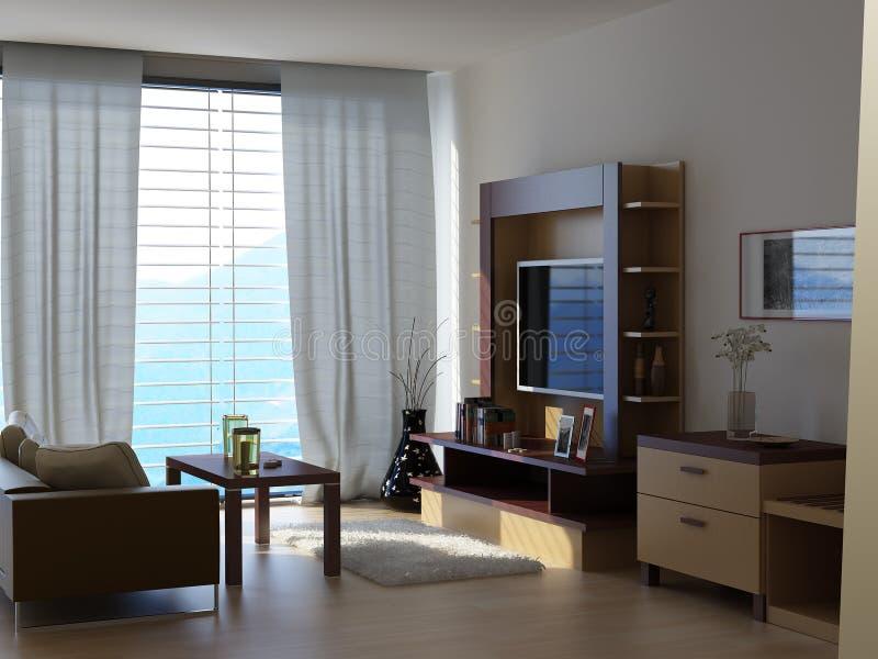 Um quarto com uma vista ilustração do vetor