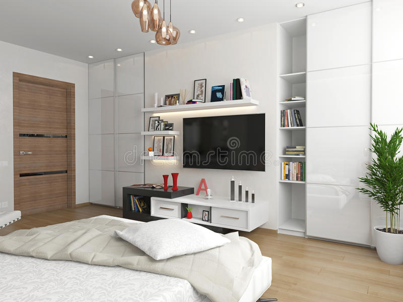 Um quarto com uma vista da tevê fotos de stock royalty free