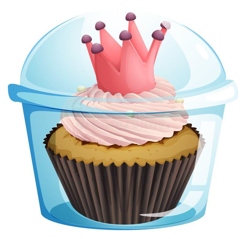 Um queque com uma coroa dentro do recipiente descartável ilustração stock
