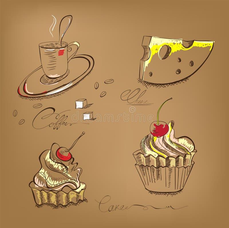Um queque e um queijo da chávena de café ilustração stock