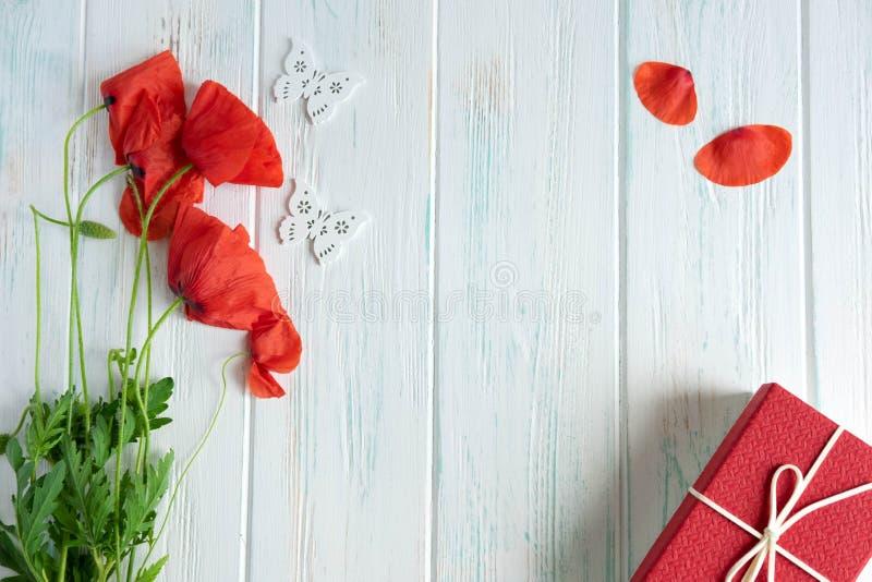 Um ramalhete das papoilas com um presente, as borboletas e um lugar para Copispeys Cartão com flores das papoilas Papoilas sobre fotografia de stock