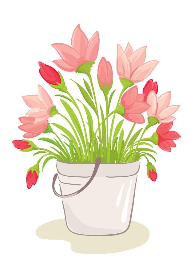 Um ramalhete de flores cor-de-rosa ilustração royalty free
