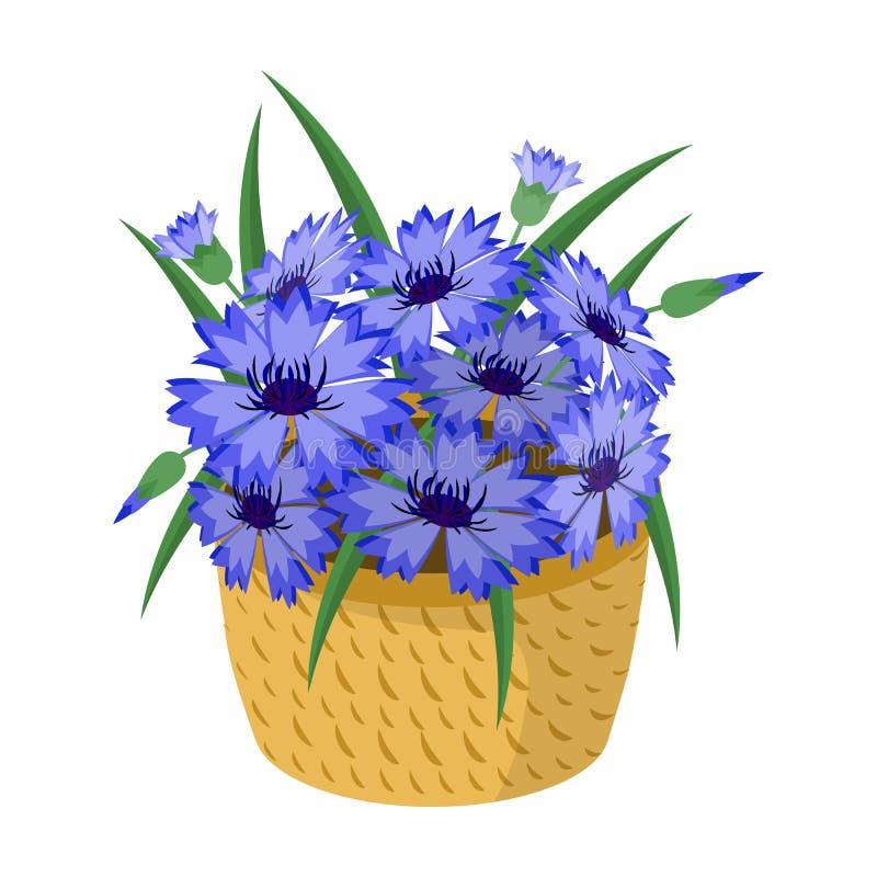 Um ramalhete de flores frescas escolhe o ícone no estilo dos desenhos animados para o projeto Web da ilustração do estoque do sím ilustração royalty free