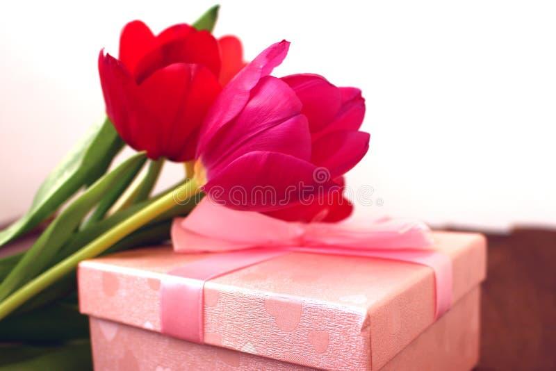 Um ramalhete de tulipas vermelhas e de uma caixa de presente em um fundo branco foto de stock royalty free