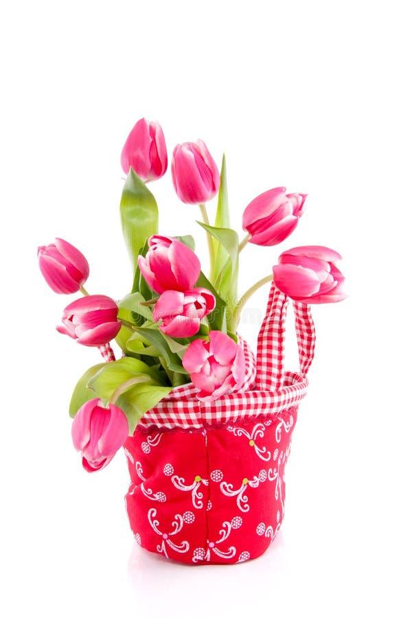 Um ramalhete de tulips cor-de-rosa escuros fotografia de stock royalty free