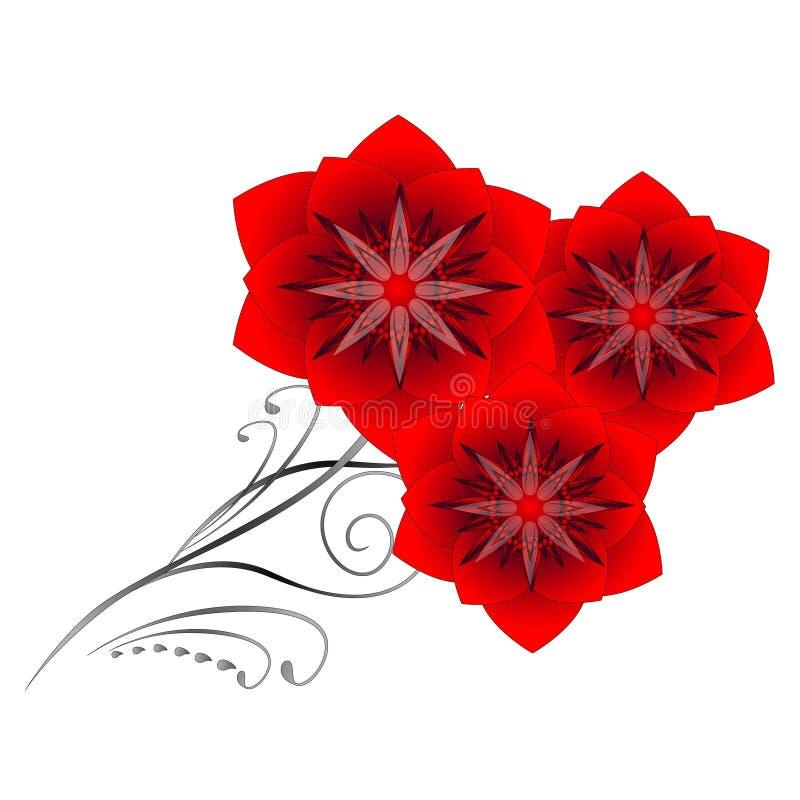 Um ramo de flores abstratas vermelhas em um fundo branco ilustração do vetor