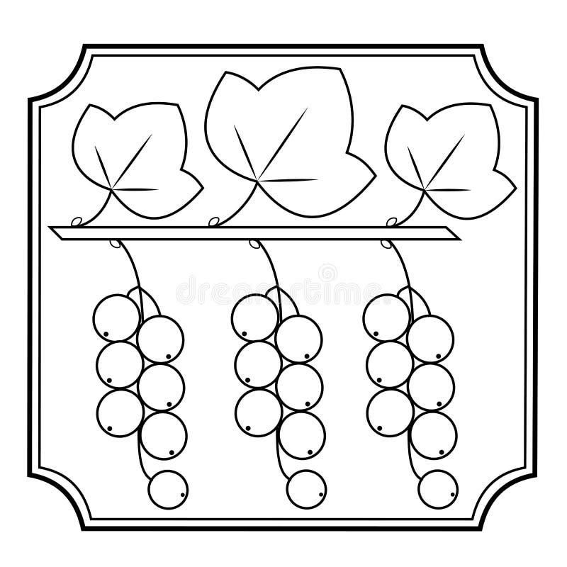 Um ramo do corinto das bagas, planta medicinal Bagas úteis para a saúde e a medicina Imagem gráfica no quadro Ilustra??o do vetor ilustração stock