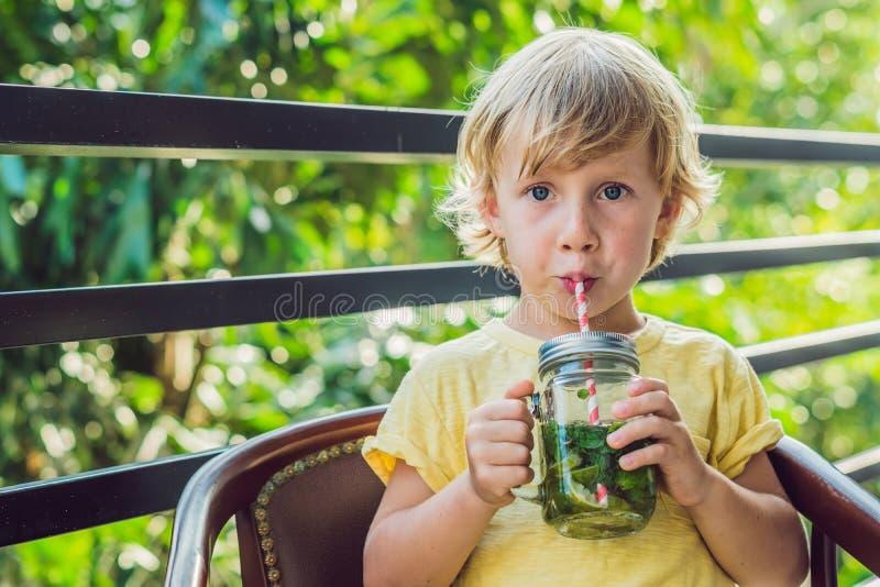 Um rapaz pequeno bebe a água com hortelã e cal Beba mais água c imagens de stock royalty free