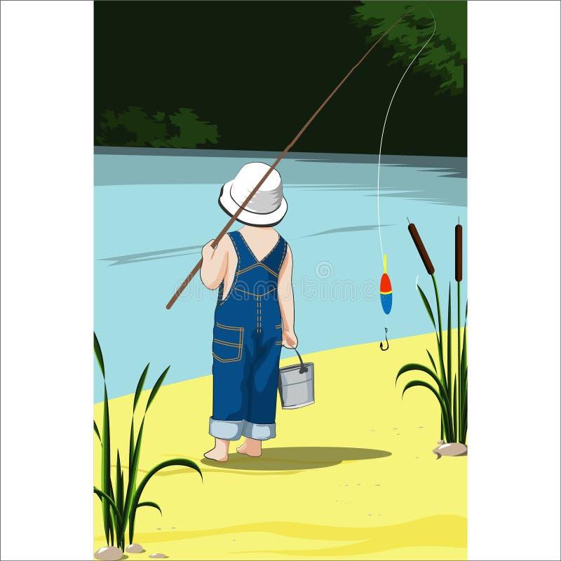 Um rapaz pequeno está pescando pelo rio em um dia ensolarado quente ilustração royalty free
