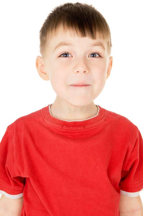 Um rapaz pequeno levanta para a câmera imagem de stock