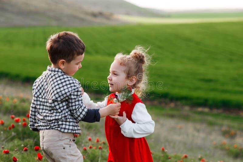 Um rapaz pequeno que dá flores a uma menina O conceito do amor fotos de stock