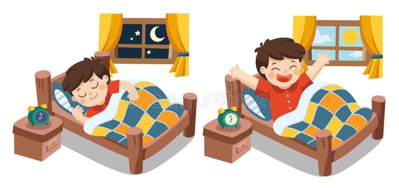 Um rapaz pequeno que dorme em sonhos do tonight e acorda ilustração stock