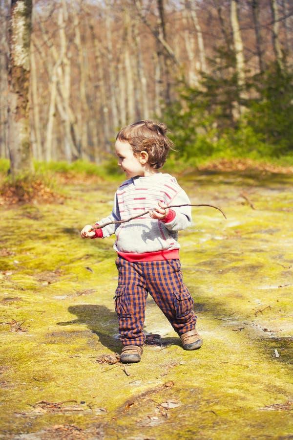 Um rapaz pequeno que joga nas madeiras imagens de stock