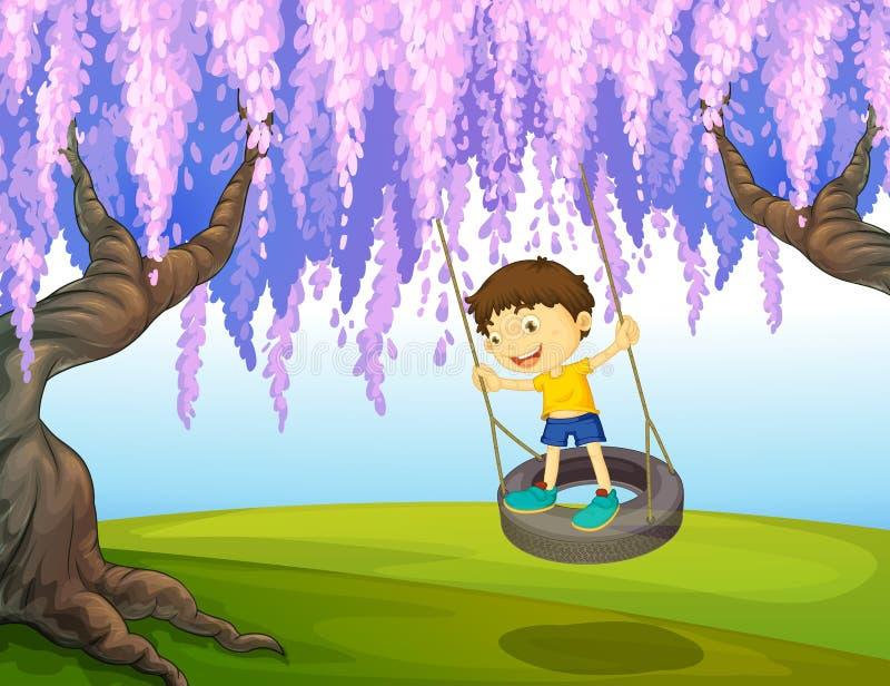 Um rapaz pequeno que joga no parque ilustração do vetor