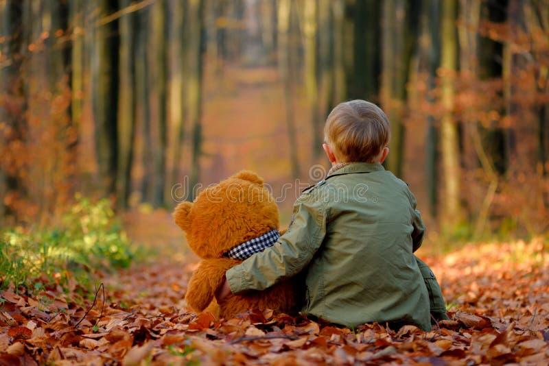 Um rapaz pequeno que joga no parque do outono fotos de stock royalty free