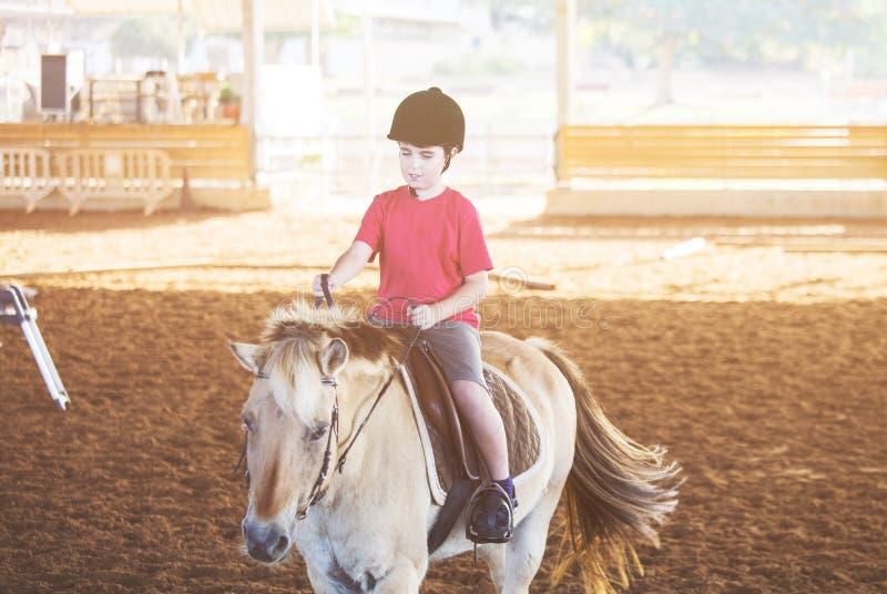 Um rapaz pequeno que monta um cavalo Primeiras lições da equitação imagens de stock royalty free