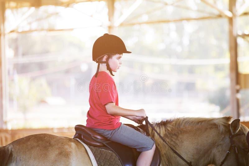 Um rapaz pequeno que monta um cavalo Primeiras lições da equitação fotografia de stock