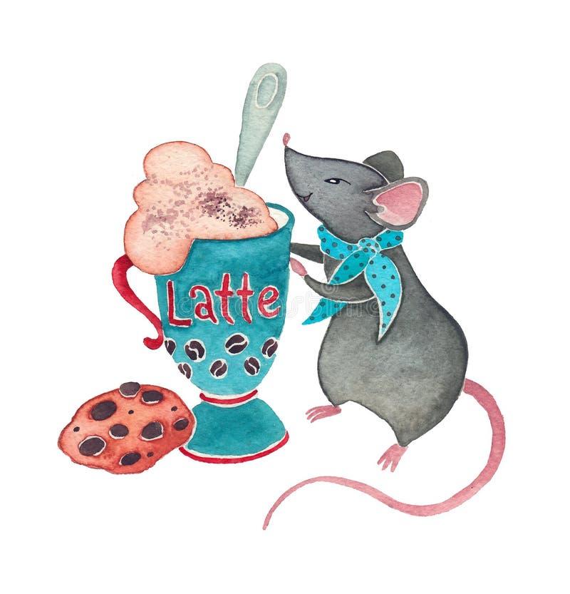 Um rato com Latte fotos de stock royalty free