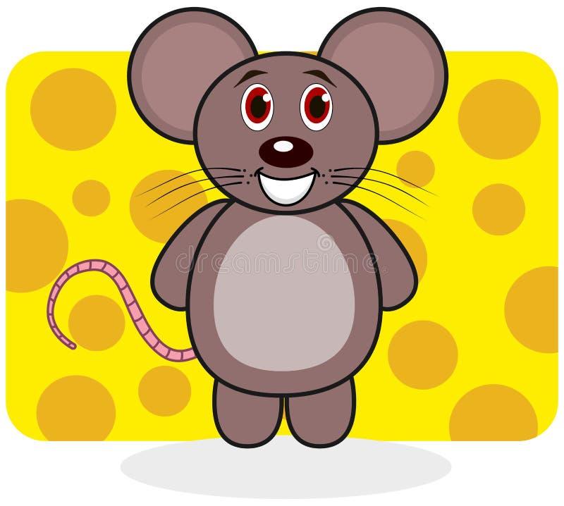 Um rato de sorriso em um fundo do queijo ilustração do vetor