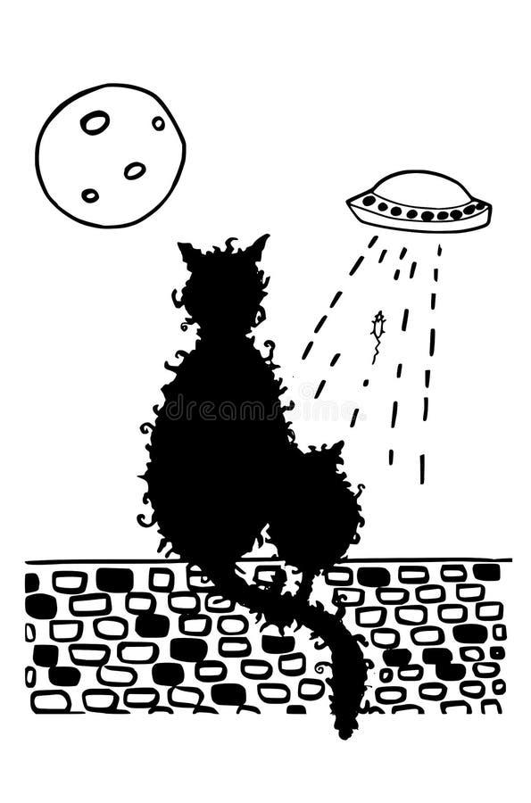 Um rato que obtém sequestrou por um UFO ilustração royalty free