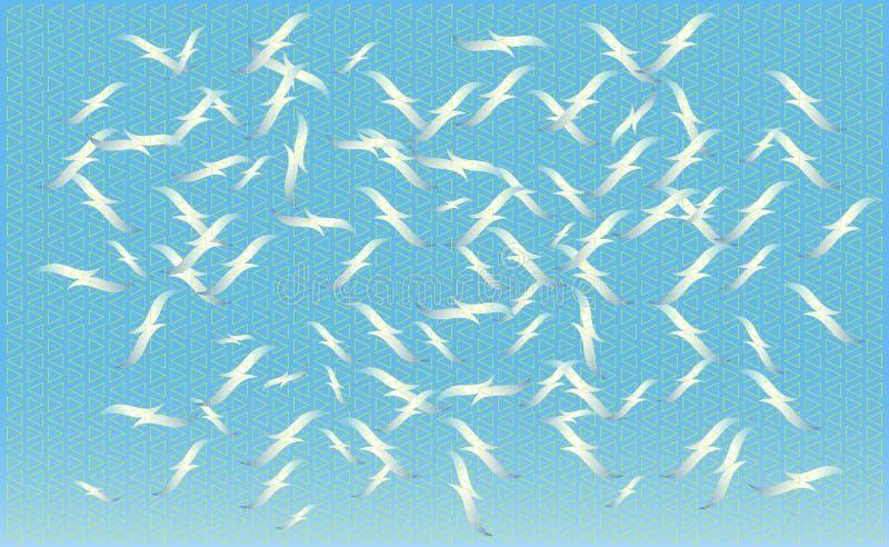 Um rebanho dos pássaros que alimentam no vetor, silhuetas das gaivotas do voo, grupo de pássaros crescentes isolados Textura geom fotos de stock
