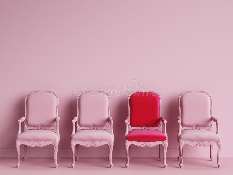 Um redchair entre cadeiras cor-de-rosa no backgrond cor-de-rosa ilustração stock