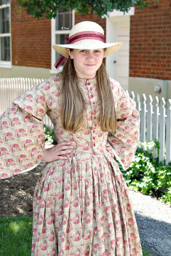 "Um Reenactor fêmea no ""Battle do  de Liberty†- Bedford, Virgínia imagens de stock"