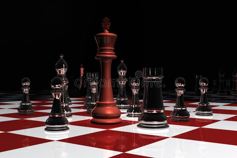 Um rei cercado em um tabuleiro de xadrez ilustração stock