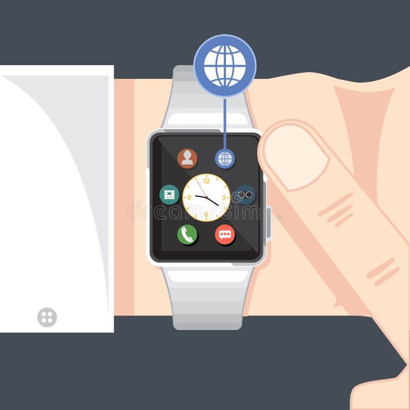 Um relógio esperto preto com tempo ilustração do vetor