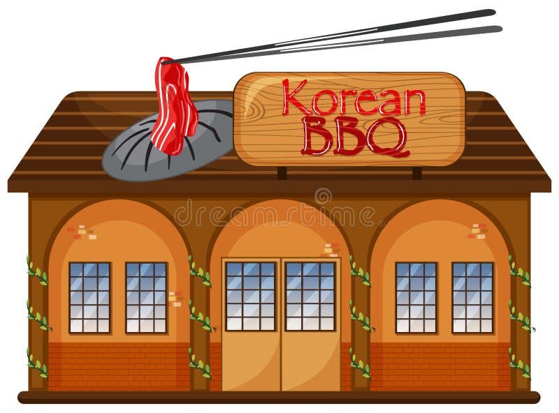 Um restaurante coreano do BBQ ilustração royalty free