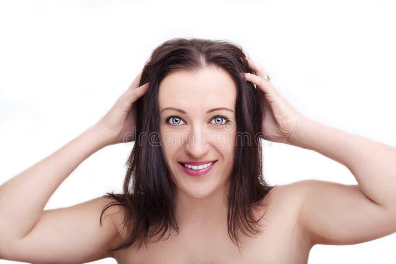 Um retrato da cara bonita com os olhos bonitos - isolados no branco fotos de stock royalty free