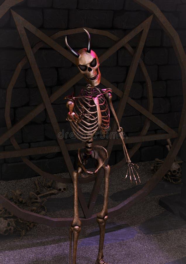 Um retrato de um esqueleto horned assustador ilustração royalty free