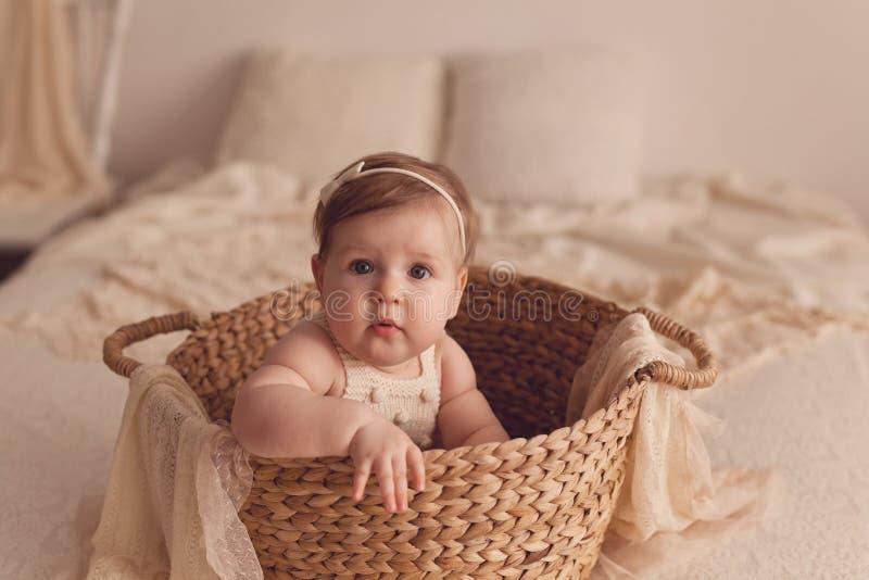 Um retrato de uma menina idosa de seis meses que senta-se em uma cesta de vime imagem de stock