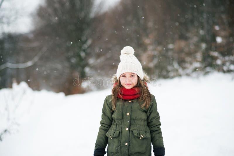 Um retrato de uma menina pequena na neve foto de stock
