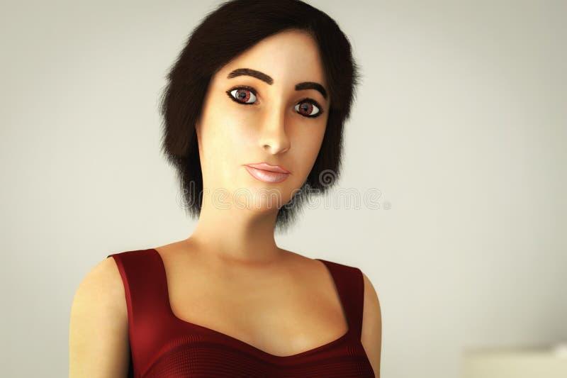 Um retrato de uma rendição bonita da mulher 3d ilustração royalty free