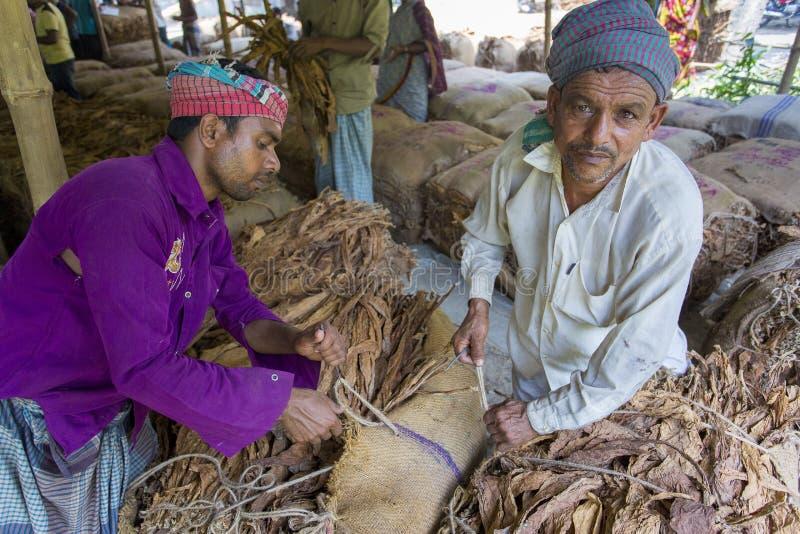 Um retrato do trabalhador do cigarro no lado da vila do manikganj, Bangladesh imagem de stock