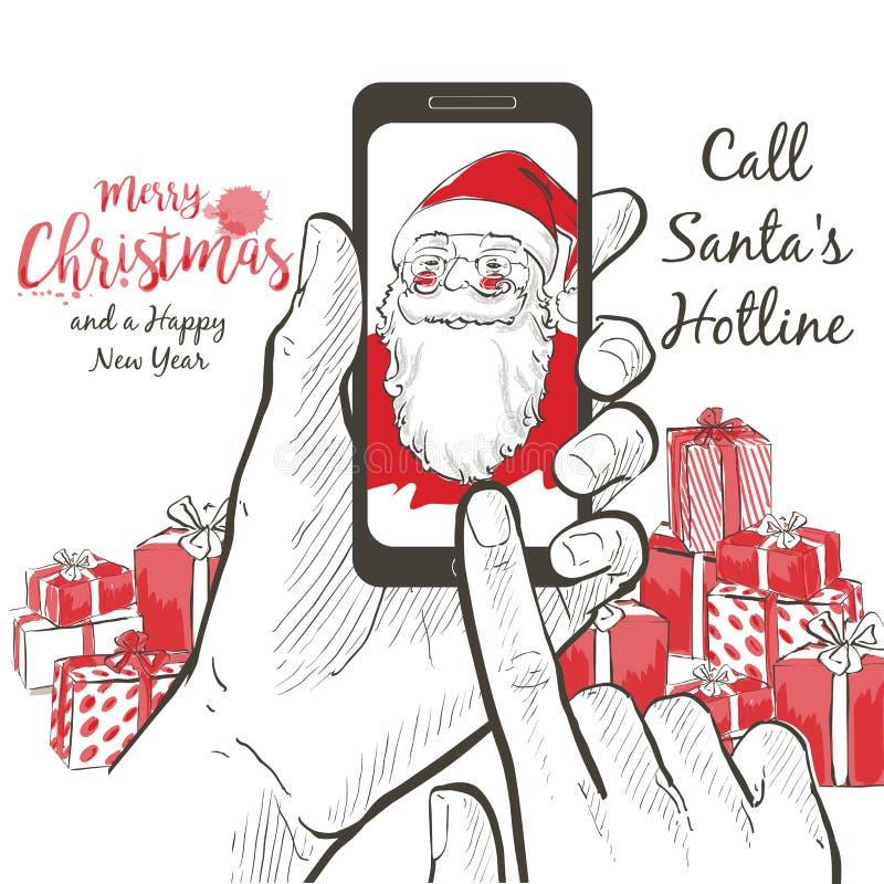 Um retrato realístico de Santa Claus que chama usando a tela do smartphone ilustração stock