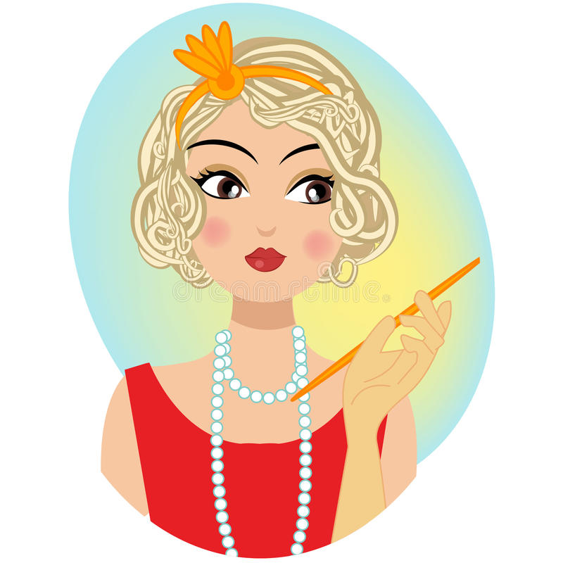 Um retrato retro do vintage de uma mulher ilustração royalty free