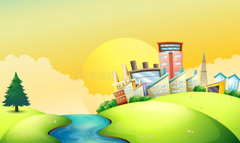 Um rio de fluxo ao lado das fábricas ilustração royalty free