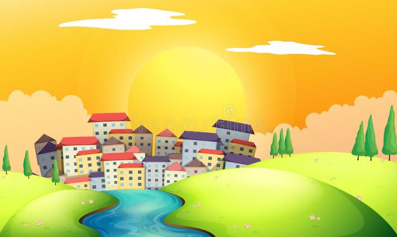 Um rio de fluxo na vila ilustração stock